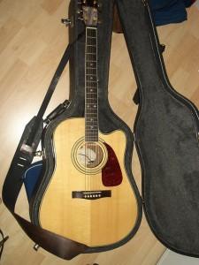 Guitarra acústica en su estuche