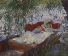 Sargent. Dos mujeres dormidas en una barca bajo los sauces,c.1887