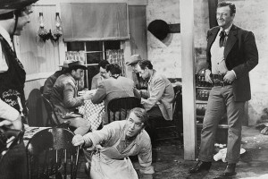 """Escena de la película western """"El hombre que mató a Liberty Valance"""", con el actor John Wayne."""