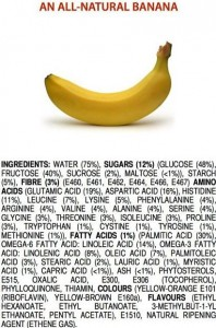 Sustancias químicas que componen un plátano 100% natural.