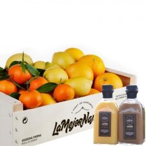 Caja reciclable de LaMejorNaranja y licores de la familia Serra. Imagen cedida por LaMejorNaranja.