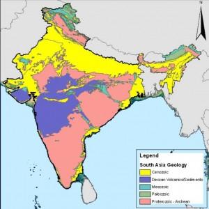 """Geología de India. En morado: rocas volcánicas de las """"Deccan Trapps"""" - Dominio Público"""