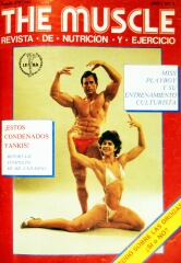 "Paula Doncel y Salvador Ruiz, en la cubierta del revista ""The Muscle"" en 1983."