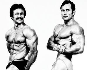 Salvador Ruiz y Anibal López, campeonato del mundo de culturismo 1978. Foto gentileza de Baldo Lois, digitalización Agencia Febus.