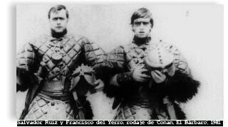 """Salvador Ruiz y Francisco del Yerro, rodaje de """"Conan El Bárbaro"""" (1982). Foto gentileza de Salvador Ruiz."""