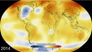 Anomalía de temperatura en 2014 - Crédito: NASA