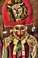Personaje del  Peliqueiro, en el Carnaval de Laza, en Orense, Galicia