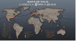 Mapa Vuelta al Mundo en 80 días. Imagen Wikimedia