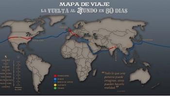 Mapa Vuelta al Mundo en 80 días de Verne