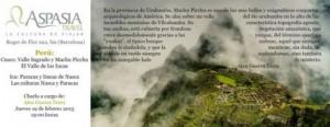 Cartel de charla de Alex Guerra previo al viaje como guía para Aspasia Travel en Perú