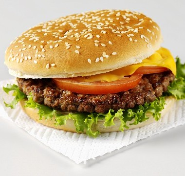 Imagen de una hamburguesa de carne de vacuno