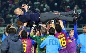 Celebración azulgrana tras la consecución de la final de la Copa del Rey 2012