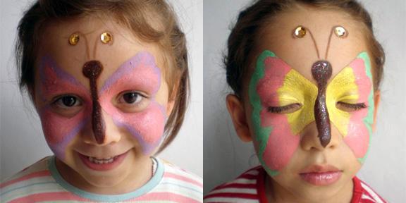 Los antifaces favoritos de los niños y de las niñas. Maquillaje antifaz de mariposa para