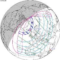 Lugares por dónde pasa el eclipse de sol del 20 de Marzo de 2015 - Predicción de Fred Espenak, NASA's GSFC