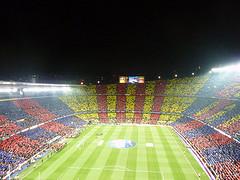 Imagen del Nou Camp durante un partido de fútbol