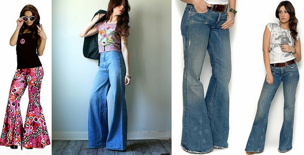 Pantalones de campana y ropa de los 70 que están de moda