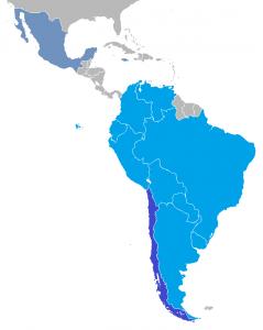 En color azul los paises participantes en la Copa América 2015