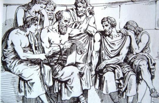 Socrates y sus discipulos grabado segun pintura de Pinelli