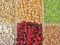 Variedad de legumbres para recetas vegetarianas