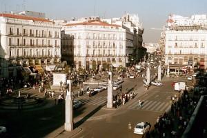 Vista de la Puerta del Sol desde las Casas del Cordero en la calle Mayor
