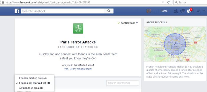 Búsqueda Facebook Amigos A Salvo Ataques terroristas París Noviembre 2015