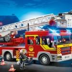 camion bomberos escalera luces sonido playmobil
