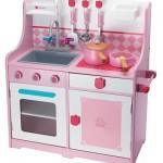 cocina juguete madera rosa