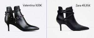 Botines Rockstud Noir Valentino vs. Botines tachuelas Zara