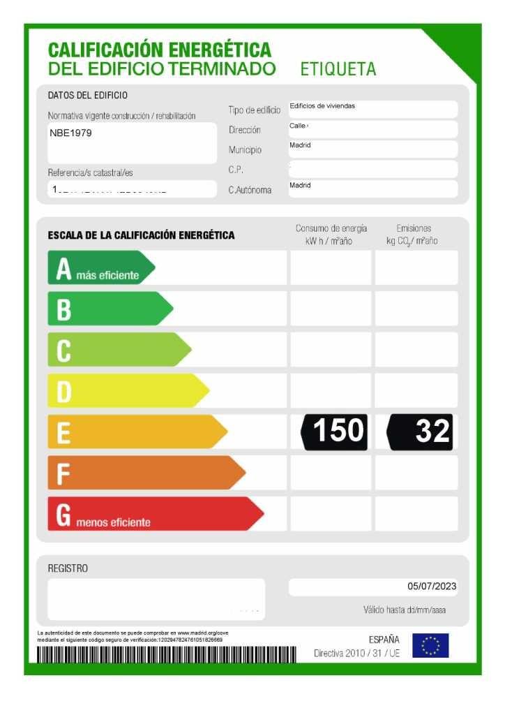 Etiqueta energética registrada
