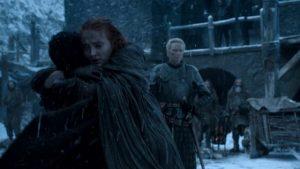 Abrazo Jon Nieve Sansa Stark