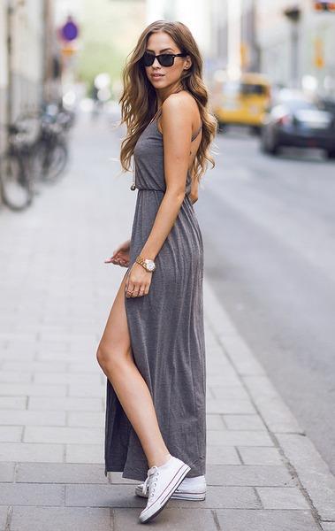 zapatillas con vestido largo
