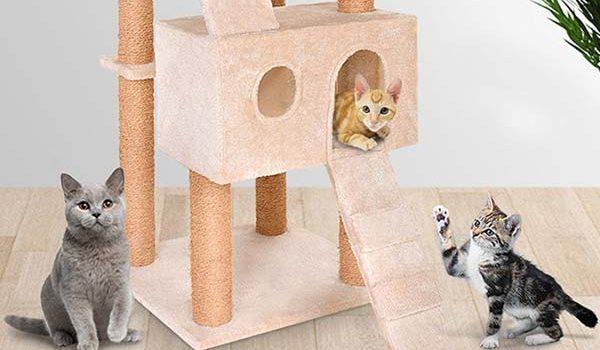 1 cueva c/ómoda y 4 plataformas y 2 escaleras Leopet Rascador para gatos de altura 160 cm colores a elegir
