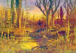 Dibujo de una zona pantanosa del Devónico