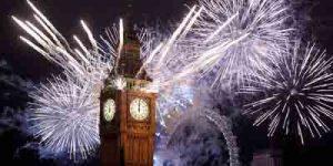 El Big Ben y el London Eye en Nochevieja
