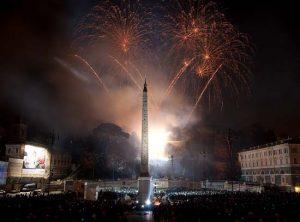 Fuegos artificiales en Nochevieja en Roma